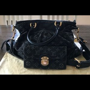 Louis Vuitton Black Denim Purse & Wallet